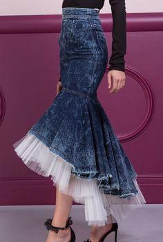 / calandra skirt / high waited with denim and tulle ruffled hemline / maria lucia hohan / Fashion Sewing, Denim Fashion, Look Fashion, Girl Fashion, Fashion Dresses, Womens Fashion, Fashion Trends, Fashion 2018, Fashion Edgy