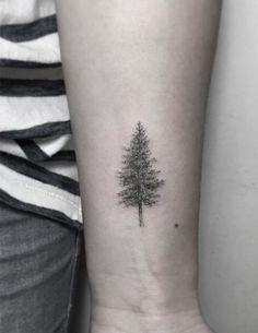45 Most Awe-Inspiring Dotwork Tattoo Designs - Dotwork tree tattoo by Zeke Yip - Delicate Tattoo, Subtle Tattoos, Small Tattoos, Tattoo Simple, Redwood Tattoo, Pine Tattoo, Georges Seurat, Minimalist Tattoo Meaning, Minimalist Tattoos