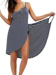Fee-Lice Damen Lang Kleid Ärmellos Striped Open Back Sommer Strand Wickelkleid Bademantel Handtuch Reise Spa Schwimmen Große Größe (M, Blau-Streifen): Amazon.de: Bekleidung