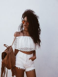 Street style, casual outfit, boho chic, summer, white off the shoulder top, white denim shorts and brown backpack. Summer vibes!!!!