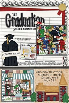 Two new kits this week! Graduation is perfect for EVERY graduation that may come up this year, or in years past. With great ledgers and solid papers, your caps and gowns will steal the show. Also new is Mainstreet, a kit for all those magical main street moments, or to document the main street in your little {or big} town. Both on sale until May 23rd.
