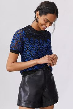Lace Blouse | Anthropologie 50 Fashion, Blue Blouse, Lace Detail, Anthropologie, Outfits, Tops, Dresses, Women, Tunics