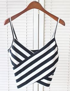 Black and White Stripe Cami Crop Top from Hello Styles. Saved to Tops.