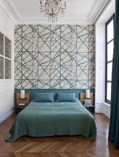 Traditional Interior Design Ideas For A Beautiful Home Wallpaper Design For Bedroom, Bedroom Wall Designs, Master Bedroom Design, Bedroom Decor, Paris Bedroom, Bedroom Ideas, Bedroom Turquoise, Bedroom Green, Bathroom Interior Design