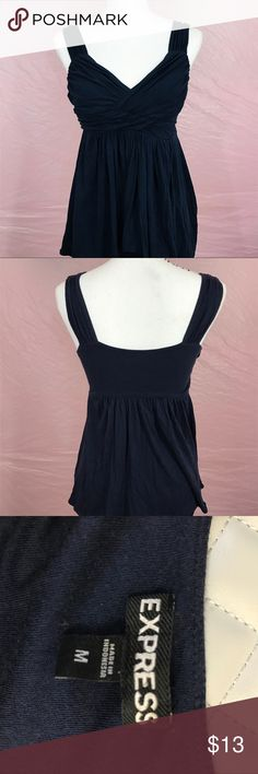 Express Dark Navy Blue Fitted Tank Top Blouse Super cute blouse from Express!  Perfect for a trip to the beach, or a dinner date with your girl friends!  Dark blue navy color.  No stains, no tears, no signs of wear.  Size Medium.  Add your favorite listings to a bundle to receive a special discount! 💕 Express Tops Blouses