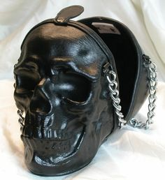 I would totally coat this in glitter.  #Black #Skull #Purse