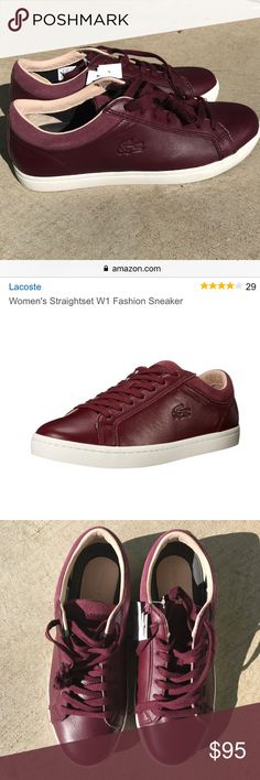 cd0f5746c8e016 NWT Lacoste Sneakers NWT Lacoste Straightset Leather Sneakers. Deep  Burgundy 100% leather upper. Rubber soles. Low top casual sneaker with a  lightly padded ...