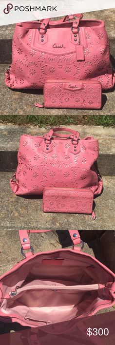 F21883 Coach Pink Lace Laser Cut Eyelet Purse Tote This is a gorgeous and rare pink Coach set.  This ad is for both pieces.  The purse is in excellent condition, and the wallet is in good condition.  The only issue is the outer trim is somewhat rubbed from use.  I had cleaned it before taking pictures, nothing's wrong with the fabric (it's wet).  Smoke and Pet Free Home. Coach Bags Shoulder Bags