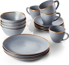 Addison Grey Gold Rim Dinnerware Set at Crate and Barrel Canada. Discover unique furniture and decor from across the globe to create a look you love.