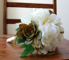 Peony and Succulents Bridal Bouquet by BlumeBloom on Etsy, $60.00