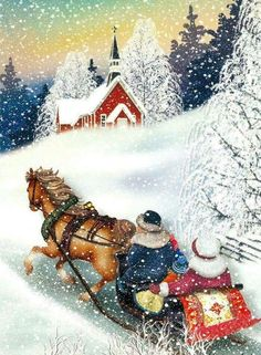 The Classic Christmas Coloring Page  One Horse open Sleigh This
