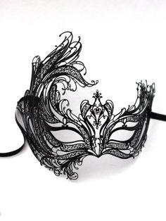 swan mask template - black swan metal filigree laser cut venetian masquerade