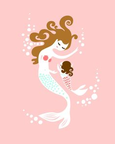 "8X10"" mermaid mother and baby girl. giclee print on fine art paper. pink, coral, mint/turquoise blue, brunette."