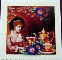 Vintage lady tea Time on Craftsuprint designed by Marijke Kok - made by Hilary Shemmans - Time for a cuppa .I used Cup 402028 by Marijke Kok ,I printed onto high gloss photo paper ,I then decoupage and put onto a cream scalloped card. - Now available for download!
