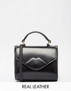 Lulu Guinness Leather Micro Bag with Lips in Black