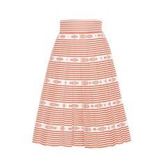 Miu Miu Striped Cotton Skirt (27 365 UAH) ❤ liked on Polyvore featuring skirts, miu miu, red, red stripe skirt, stripe skirt, striped skirt and cotton skirts