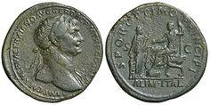 Impero Romano - Traiano (98-117 d.C.), Sesterzio, ca. 112-14 d.C., Zecca: Roma,