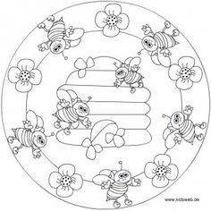 Crafts,Actvities and Worksheets for Preschool,Toddler and Kindergarten.Lots of worksheets and coloring pages. Bee Coloring Pages, Mandala Coloring Pages, Coloring Sheets, Coloring Books, Bee Crafts, Digital Stamps, Spring Crafts, Quilting Designs, Embroidery Patterns