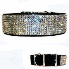 Fancy Black Diamonds 2 Inch Wide Crystal Dog Collar