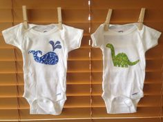 Whale and dinosaur handmade onesie size 0-3 months on Etsy, $12.00