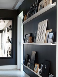 Black hallway- Chalkboard Blk paint, white shelving and storage, going up to both apartment levels! Hot Pink Room, Apartment Front Doors, Black Hallway, Rustic Master Bedroom, Black Rooms, White Shelves, Hallway Decorating, Ideal Home, House Rooms