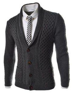Men's Hand Knitted Cardigan XS,S,M,L,XL,XXL jacket Wool Hand Knit sweater b8 #Handmade #Cardigan