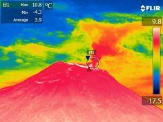 Imagen térmica tomada con una cámara infrarroja por vulcanólogos de la Universidad de Florencia desde la zona de Chontilla.