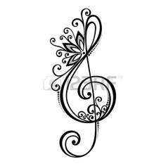 Vector Floral Decorative Treble Clef Patterned Musical Sign Stock Vector