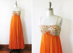 SALE 60s orange chiffon sequin dress / vintage by RustBeltThreads, $111.00