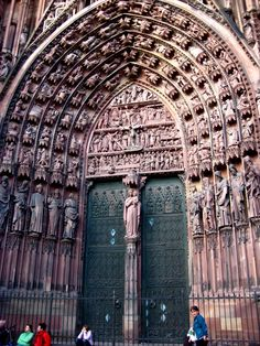 Location of Picture: La Cathedrale Notre-Dame in Strasbourg, France; Caption for picture: The intricate detail along the outside of this cathedral, especially around the entrance/door, was amazing.