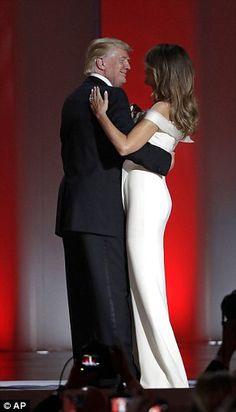 President Trump and First Lady Melania Trump dance to 'My Way', their first dance as POTUS...