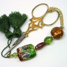 Amber and Forest Green Beaded Scissor Fob by TJBdesigns on Etsy, $18.00