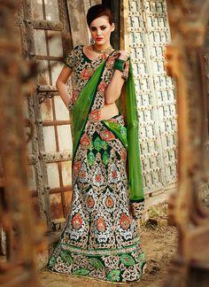 Glorious Green Stones Enhanced Velvet Lehenga Choli @ $547