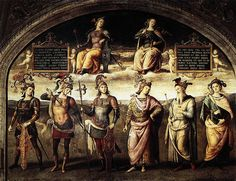 Perugino, Fortitude and Temperance with Six Antique Heroes