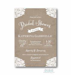 Lace Wedding Invitation, Printed, Lace Wedding Invitation, Rustic ...