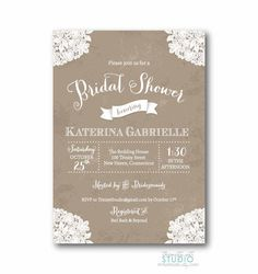 Vintage Lace Rustic Bridal Shower Invitation - Shabby Chic Wedding Doily Invite - PRINTABLE DIY Digital or Printed Design (optional) on Etsy, $17.00
