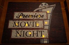 PREMIERE MOVIE NIGHT FILM REEL SIGN Classic Retro Style Theater Light Up Decor in Home & Garden, Home Décor, Plaques & Signs | eBay