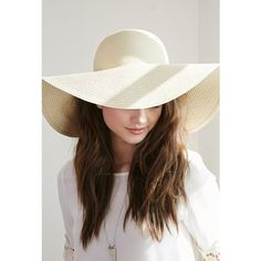 Forever 21 Floppy Wide-Brim Straw Hat featuring polyvore, fashion, accessories, hats, brimmed hat, wide brim sun hat, wide brim hat, sun hat and beach hat