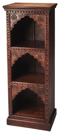 Add classic style with a twist of the East to your space with the Mihrab book case. Crafted out of solid mango wood, this sturdy book case will display all your collectables and act as storage. Dimens
