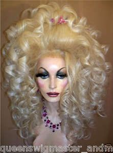 Drag-Queen-Wig-Long-Pale-Blonde-with-White-Blonde-Tips-Teased-Big-Curls