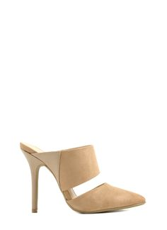 Slit Wit Stiletto Mules TAUPE $24.40