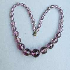 1920's Vintage PURPLE Czech Crystal Graduated Glass Bead Flapper Necklace