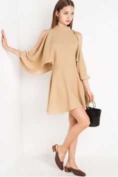 Batwing Sleeve A-Line Dress