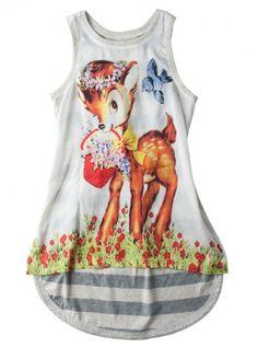 6941 Paper Wings Hi Lo Singlet Spring Deer Dress