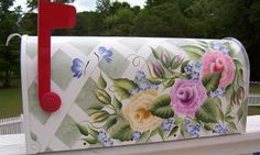 painted mailboxes with 3 multicolored cottage roses and butterflies on a lattice background