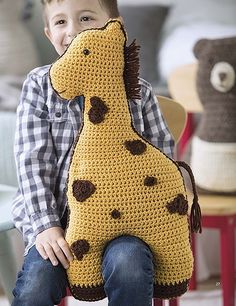 If you know a little person in need of a snuggly crocheted friend, then look no further than Fun Animal Pillows! Inside you'll find instructions for nine great big, whimsical animal buddies, and to say they're cute is a great big understatement! Crochet Cow, Giraffe Crochet, Crochet Motif, Free Crochet, Crochet Pillow Patterns Free, Knitted Animals, Animal Pillows, Yarn Crafts, Little Ones