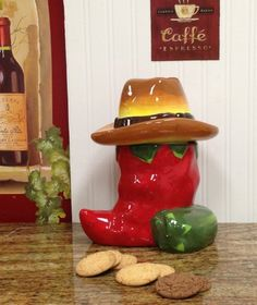 peppers kitchen decorating | Western Red and Green Chili Pepper Cookie Jar