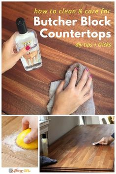 Butcher block countertops might require a lot of upkeep but it isn't something a DIYer couldn't handle! Learn how to clean and properly care for your butcher block countertops here. http://www.diaryofadiyer.com/content/how-to-clean-butcher-block-counterto