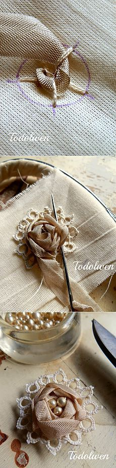 Wonderful Ribbon Embroidery Flowers by Hand Ideas. Enchanting Ribbon Embroidery Flowers by Hand Ideas. Silk Ribbon Embroidery, Beaded Embroidery, Embroidery Stitches, Embroidery Patterns, Hand Embroidery, Sewing Patterns, Embroidery Tattoo, Embroidery Tools, Machine Embroidery