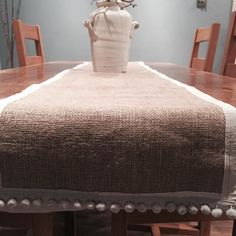 This bespoke table runner with its raw edge vintage silk and bobble trim is being hand delivered today. Perfect for the festive table this Christmas!